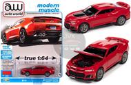 2019 CHEVROLET CAMARO ZL1 RED 1/64 SCALE DIECAST CAR MODEL BY AUTO WORLD AWSP059