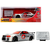 2002 NISSAN SKYLINE GT-R BNR34 RAW METAL JDM TUNERS 20TH ANNIVERSARY 1/24 SCALE DIECAST CAR MODEL BY JADA TOYS 31085