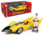 SHOOTING STAR #9 YELLOW WITH RACER X FIGURE SPEED RACER 1/18 SCALE DIECAST CAR MODEL BY AUTO WORLD AWSS125