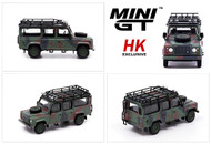 LAND ROVER DEFENDER 110 MILITARY CAMOUFLAGE ARMY HONG KONG EXCLUSIVE 1/64 SCALE DIECAST CAR MODEL BY TSM MINI GT MGT00237