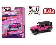 2018 JEEP WRANGLER RUBICON UNLIMITED 4X4 PINK MIJO EXCLUSIVE 3600 MADE 1/64 SCALE DIECAST CAR MODEL BY AUTO WORLD CP7753