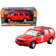 1994 GMC JIMMY SUV WITH ROOF RACK RED 1/24 SCALE DIECAST CAR MODEL BY MOTOR MAX 73206