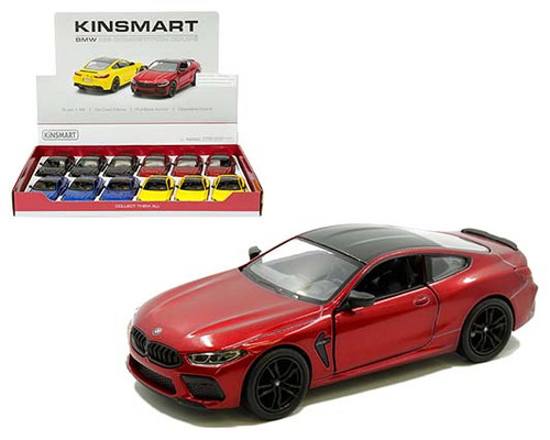 BMW M8 COMPETITION COUPE BOX OF 12 PULL BACK ACTION 1/38 SCALE BY KINSMART 5425