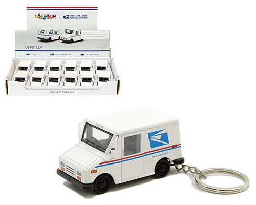 USPS LLV WITH KEYCHAIN BOX OF 12 PULL BACK ACTION 1/72 SCALE BY KINSMART 2547DK