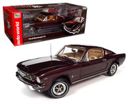 1965 FORD MUSTANG 2+2 BURGUNDY 30TH ANNIVERSARY 1/18 SCALE DIECAST CAR MODEL BY AUTO WORLD AMM1248