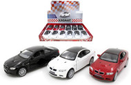 "BMW M3 COUPE TOY CAR BOX OF 12 PULL BACK 5"" 1/34 Scale By KINSMART KT5348D"