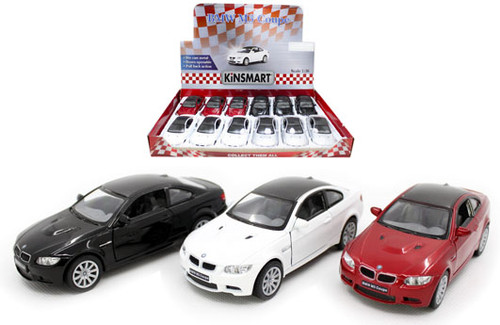 """BMW M3 COUPE TOY CAR BOX OF 12 PULL BACK 5"""" 1/34 Scale By KINSMART KT5348D"""