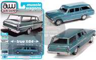 1963 CHEVROLET II NOVA 400 STATION WAGON AZURE AQUA POLY 1/64 SCALE DIECAST CAR MODEL BY AUTO WORLD AWSP067