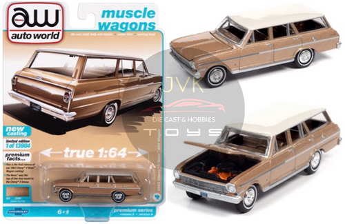 1963 CHEVROLET II NOVA 400 STATION WAGON SADDLE TAN POLY WITH ERMINE WHITE ROOF 1/64 SCALE DIECAST CAR MODEL BY AUTO WORLD AWSP067