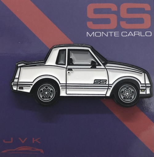 CHEVROLET MONTE CARLO SS WHITE ENAMEL LAPEL PIN JVK TOYS EXCLUSIVE LIMITED EDITION NUMBERED FROM 1 TO 100