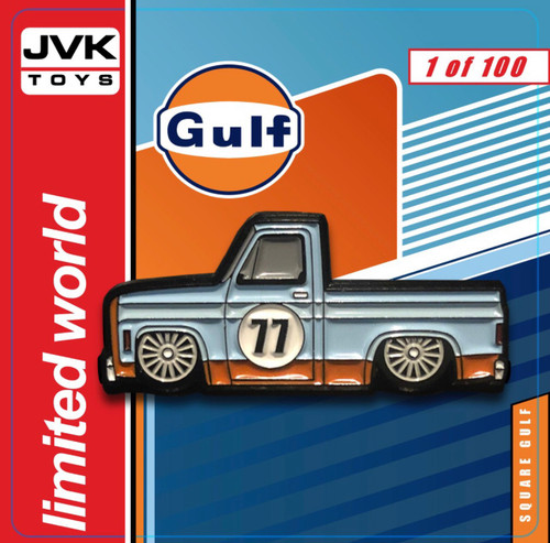 CHEVROLET SILVERADO SQUAREBODY PICKUP TRUCK GULF OIL LIVERY  ENAMEL LAPEL PIN JVK TOYS EXCLUSIVE LIMITED EDITION NUMBERED FROM 1 TO 100