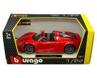 PORSCHE 918 SPYDER RED 1/24 SCALE DIECAST CAR MODEL BY BBURAGO 21076
