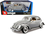 1955 VW VOLKSWAGEN KAFER BEETLE GREY 1/18 SCALE DIECAST CAR MODEL BY BBURAGO 12029