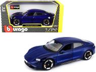 PORSCHE TAYCAN TURBO S BLUE 1/24 SCALE DIECAST CAR MODEL BY BBURAGO 21098