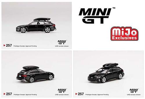 AUDI RS 6 AVANT MYTHOS BLACK WITH ROOF BOX 1/64 SCALE DIECAST CAR MODEL BY TSM MINI GT MGT00257