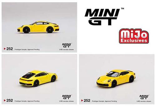PORSCHE 911 ( 992 ) CARRERA 4S RACING YELLOW 1/64 SCALE DIECAST CAR MODEL BY TSM MINI GT MGT00252