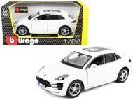 PORSCHE MACAN WHITE 1/24 SCALE DIECAST CAR MODEL BY BBURAGO 21077