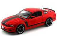2013 Ford Mustang Boss 302 Red 1/18 Scale Diecast Car Model By Shelby Collectibles SC 454