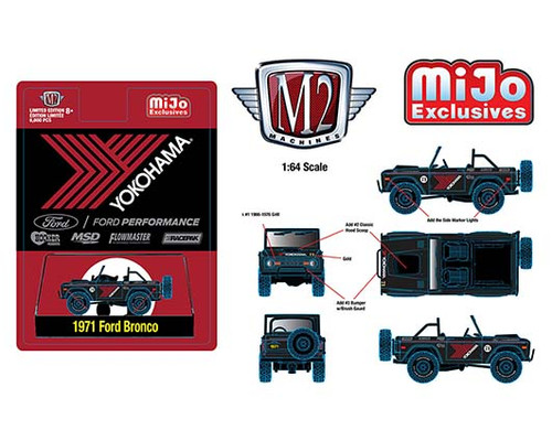 1971 FORD BRONCO OFF ROAD 4X4 YOKOHAMA RACING EXCLUSIVE 1/64 SCALE DIECAST CAR MODEL BY M2 MACHINES 31500-MJS35