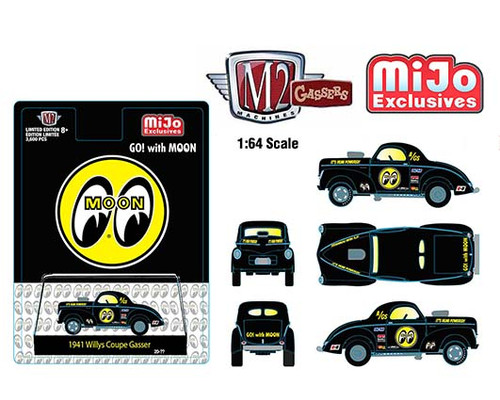 1941 WILLYS COUPE GASSER MOONEYES EXCLUSIVE 1/64 SCALE DIECAST CAR MODEL BY M2 MACHINES 31500-MJS36