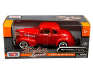 1939 CHEVROLET COUPE RED 1/24 SCALE DIECAST CAR MODEL BY MOTOR MAX 73247