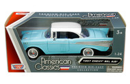1957 CHEVROLET BEL AIR BLUE 1/24 SCALE DIECAST CAR MODEL BY MOTOR MAX 73228