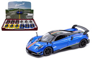 2016 PAGANI HUAYRA BC WITH STRIPES BOX OF 12 PULL BACK 1/38 SCALE DIECAST CAR MODEL BY KINSMART KT 5400DF