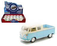 """1963 VOLKSWAGEN BUS DOUBLE CAB PICKUP TRUCK BOX OF 12 1/32 SCALE 5"""" DIECAST CAR MODEL PULL BACK BY KINSMART KT 5387DY"""