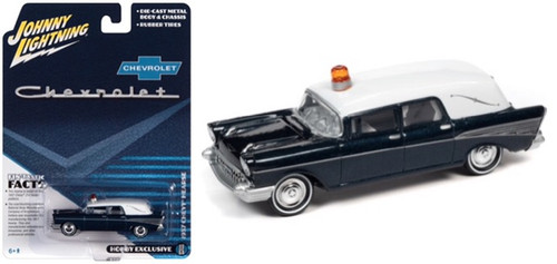 1957 CHEVROLET HEARSE CHEVY 1/64 SCALE DIECAST CAR MODEL BY JOHNNY LIGHTNING JLSP131