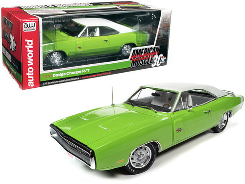 1970 DODGE CHARGER R/T MOPAR WITH LUGGAGE RACK GREEN COVER CAR 1/18 SCALE DIECAST CAR MODEL BY AUTO WORLD AMM1249