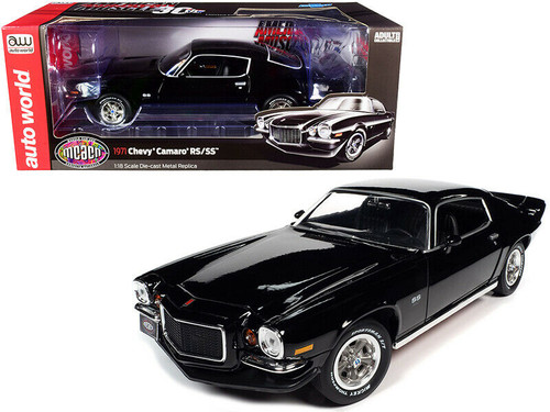1971 CHEVROLET CAMARO RS SS BLACK MCACN 30TH ANNIVERSARY 1/18 SCALE DIECAST CAR MODEL BY AUTO WORLD AMM1250