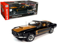 1969 FORD MUSTANG BOSS 429 FASTBACK BLACK & GOLD 30TH ANNIVERSARY 1/18 SCALE DIECAST CAR MODEL BY AUTO WORLD AMM1251