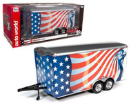 FOUR WHEEL ENCLOSED CAR TRAILER AMERICAN FLAG GRAPHICS 1/18 SCALE DIECAST MODEL BY AUTO WORLD AMM1266