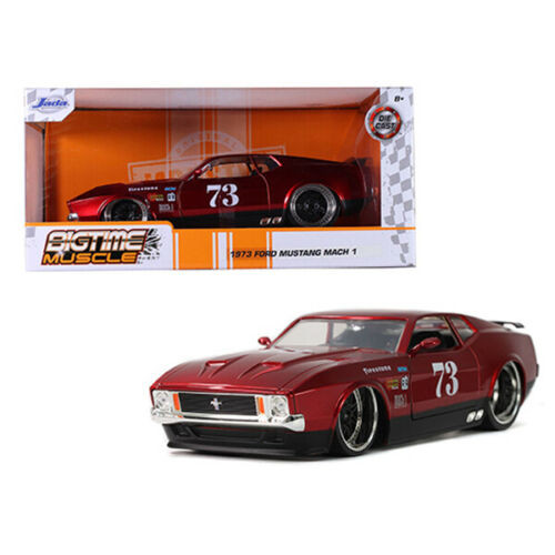 1973 FORD MUSTANG MACH 1 #73 RED 1/24 SCALE DIECAST CAR MODEL BY JADA TOYS 32301