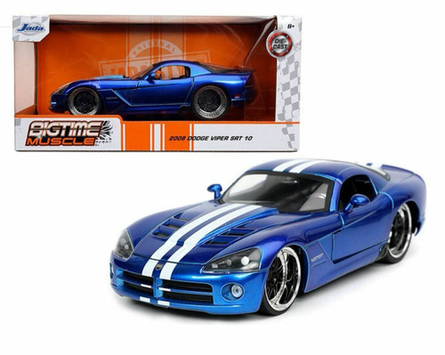 2008 DODGE VIPER SRT 10 CANDY BLUE WITH WHITE STRIPES 1/24 SCALE DIECAST CAR MODEL BY JADA TOYS 32726