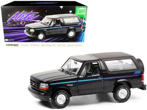 1992 FORD BRONCO NITE BLACK WITH STRIPES 1/18 SCALE DIECAST CAR MODEL BY GREENLIGHT 19088