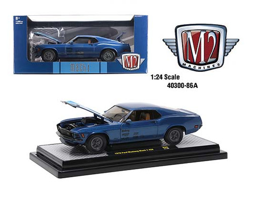 1970 FORD MUSTANG MACH 1 428 BLUE 1/24 SCALE DIECAST CAR MODEL BY M2 40300-86A