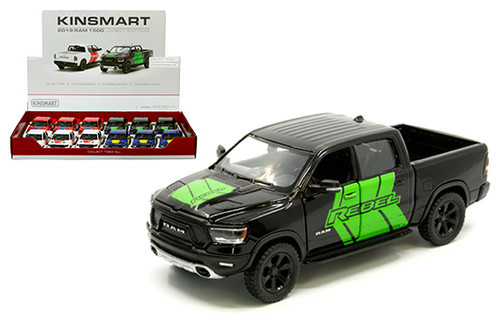 2019 DODGE RAM 1500 TRUCK 4 COLORS BOX OF 12 PULL BACK 1/46 SCALE DIECAST CAR MODEL BY KINSMART KT5413DF