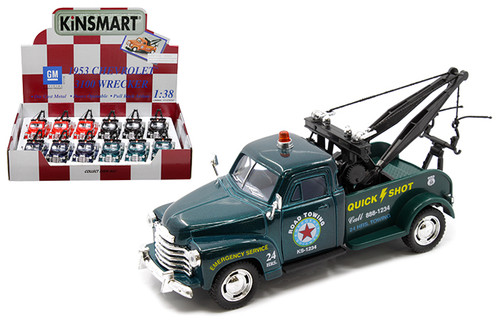 """1953 CHEVROLET WRECKER TOW TRUCK 4 COLORS BOX OF 12 PULL BACK 5"""" 1/38 SCALE DIECAST CAR MODEL BY KINSMART KT5033D"""