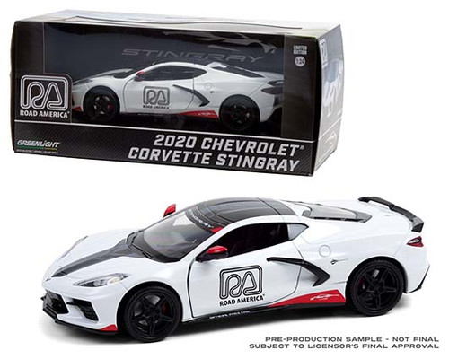 2020 CHEVROLET CORVETTE STINGRAY ROAD AMERICA OFFICIAL PACE CAR 1/24 SCALE DIECAST CAR MODEL BY GREENLIGHT 18259