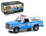1992 FORD BRONCO LIGHT BLUE NYC POLICE NYPD 1/18 SCALE DIECAST CAR MODEL BY GREENLIGHT 19087