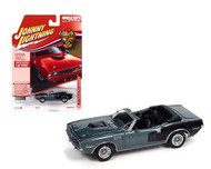 1971 PLYMOUTH CUDA CONVERTIBLE WINCHESTER GRAY 1/64 SCALE DIECAST CAR MODEL BY JOHNNY LIGHTNING JLSP153