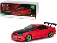 1999 NISSAN SKYLINE GT-R BNR34 RED WITH LED LIGHT 1/18 SCALE DIECAST CAR MODEL BY GREENLIGHT 19052