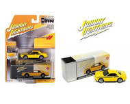 2010 DODGE CHALLENGER R/T YELLOW WITH TIN BOX 1/64 SCALE DIECAST CAR MODEL BY JOHNNY LIGHTNING JLSP147 A