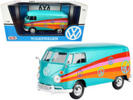VOLKSWAGEN TYPE 2 T1 DELIVERY VAN PEACE TURQUOISE 1/24 SCALE DIECAST CAR MODEL BY MOTOR MAX 79583