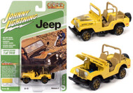 JEEP CJ-5 SUNSHINE YELLOW WITH GOLDEN EAGLE GRAPHICS 1/64 SCALE DIECAST CAR MODEL BY JOHNNY LIGHTNING JLSP150