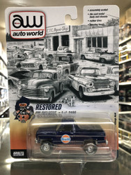 1978 CHEVROLET K10 SQUAREBODY PICKUP TRUCK 4X4 GULF BLUE CTC EXCLUSIVE 1/64 SCALE DIECAST CAR MODEL BY AUTO WORLD CP7784