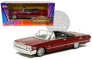 1963 CHEVROLET IMPALA SS CONVERTIBLE RED LOWRIDER 1/24 SCALE DIECAST CAR MODEL BY WELLY 22434