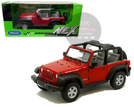JEEP WRANGLER RUBICON CONVERTIBLE RED 1/24 SCALE DIECAST CAR MODEL BY WELLY 22489