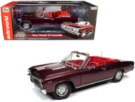 1967 CHEVROLET CHEVELLE SS 396 CONVERTIBLE MCACN MAROON 1/18 SCALE DIECAST CAR MODEL BY AUTO WORLD AMM1244